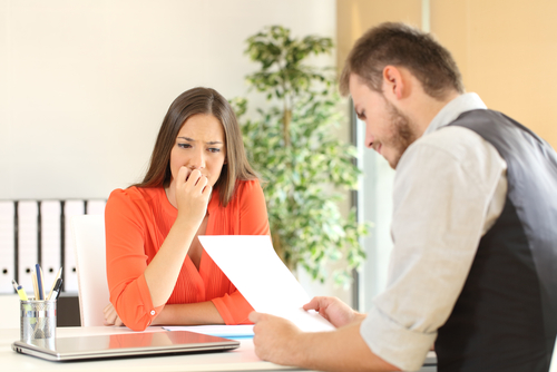 anxious woman in interview